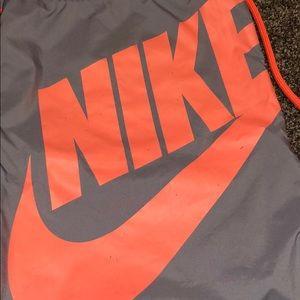 Nike Bags - Drawstring Nike Bag/Sack in Grey/Coral